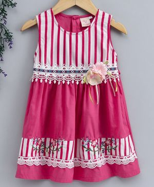 Smile Rabbit Sleeveless Striped Frock Floral Applique - Pink