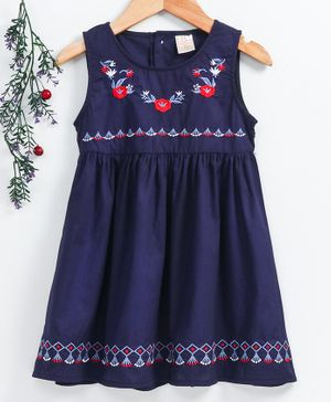 Smile Rabbit Sleeveless Frock Floral Embroidery - Navy Blue