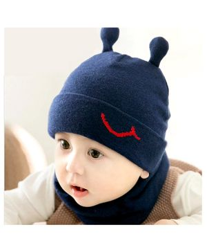 Ziory Small Snail Horn Cap With Scarf - Navy Blue