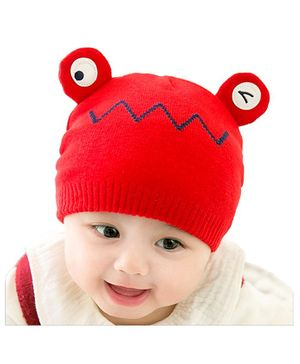 Ziory Frog Beanies Infant Warm Wool Knitted Cap - Red