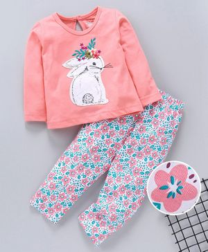 Babyhug Full Sleeves Night Suit Bunny Patch - Coral Pink