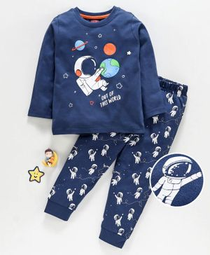Babyhug Full Sleeves Night Suit Astronaut Print - Navy Blue