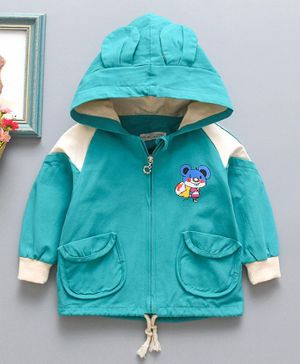 Awabox Mouse Print Full Sleeves Hooded Jacket - Green