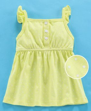 Zero Sleeveless Frock Dots Print - Lime Green