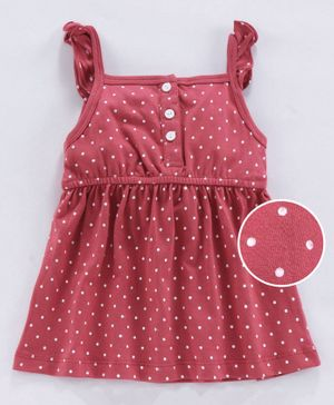 Zero Sleeveless Frock Dots Print - Coral