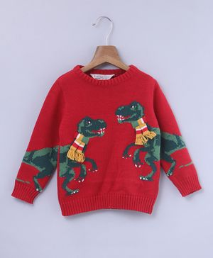 Beebay Dino Design Full Sleeves Sweater - Red