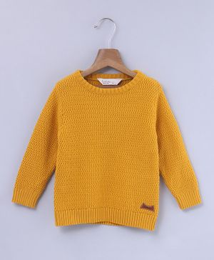 Beebay Solid Full Sleeves Sweater - Yellow