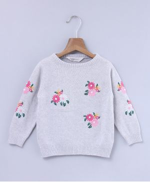 Beebay Flower Embroidered Full Sleeves Sweater - Grey