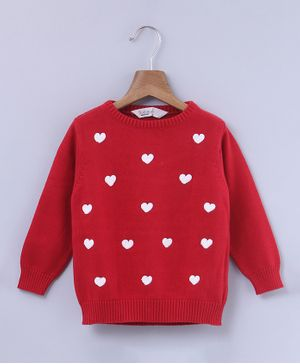 Beebay Heart Design Full Sleeves Sweater - Red