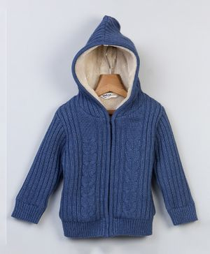 Beebay Lined Cable Knitted Full Sleeves Hooded Jacket - Blue