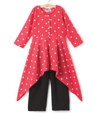 M'andy Polka Dot Pink High Low Full Sleeves Long Top With Straight Pants - Pink