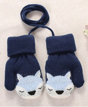 Flaunt Chic Fox Design Mittens - Dark Blue