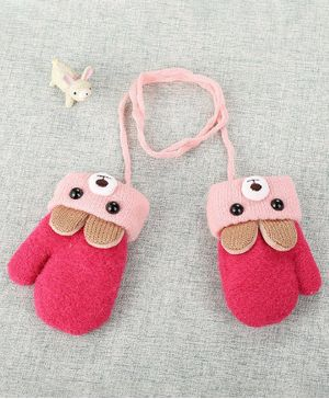 Flaunt Chic Bunny Ear Applique Mittens - Pink