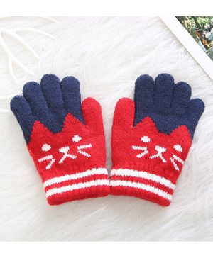 Flaunt Chic Cat Design Gloves - Red