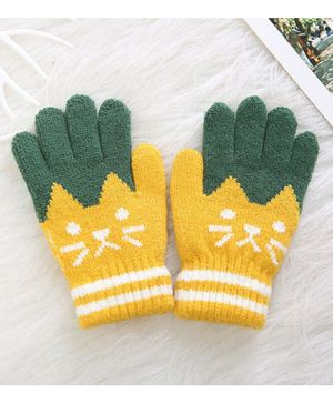 Flaunt Chic Cat Design Gloves - Yellow