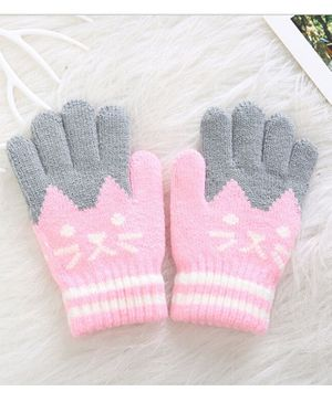 Flaunt Chic Cat Design Gloves - Light Pink