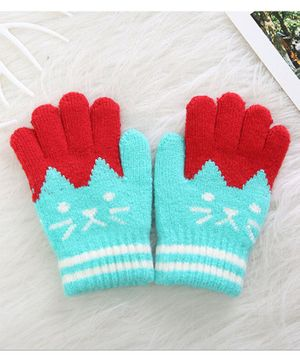 Flaunt Chic Cat Design Gloves - Blue