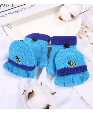 Flaunt Chic Honey Bee Embroidered Gloves - Blue
