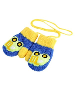 Flaunt Chic Car Design Mittens - Blue