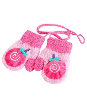 Flaunt Chic Candy Design Mittens - Pink