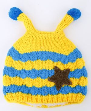 Flaunt Chic Striped Cap With Star Patch - Yellow