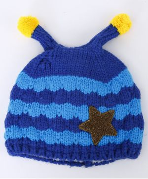 Flaunt Chic Striped Cap With Star Patch - Blue