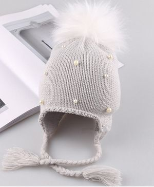 Flaunt Chic Pearl Embellished Pom Pom Detailed Cap - Grey