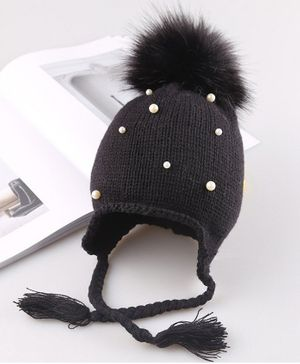 Flaunt Chic Pearl Embellished Pom Pom Detailed Cap - Black