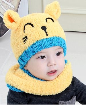 Flaunt Chic Ear Applique Cap With Scarf - Yellow