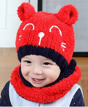 Flaunt Chic Ear Applique Cap With Scarf - Red
