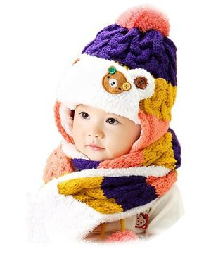 Flaunt Chic Knitted Plush Cap With Attached Scarf - Purple