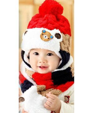Flaunt Chic Knitted Plush Cap With Attached Scarf - Red