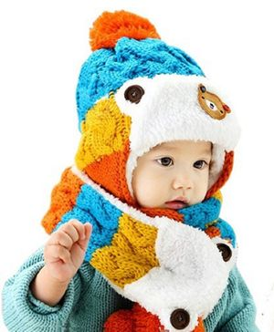 Flaunt Chic Knitted Plush Cap With Attached Scarf - Blue
