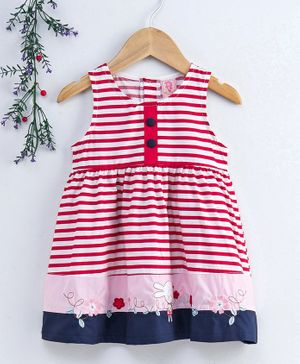 Sunny Baby Sleeveless Striped Frock Bunny Patch - Red