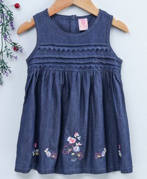 Sunny Baby Sleeveless Floral Embroidered Frock - Navy Blue