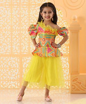 Varsha Showering Trends Printed Half Sleeves Top With Skirt - Yellow
