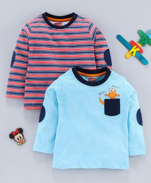 Babyhug Full Sleeves Tee Striped & Graphic Print Pack of 2 - Red Blue