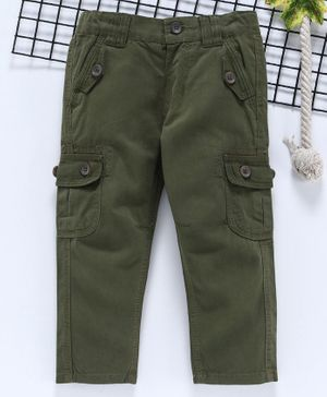 Babyhug Full Length Cotton Twill Trouser - Olive Green