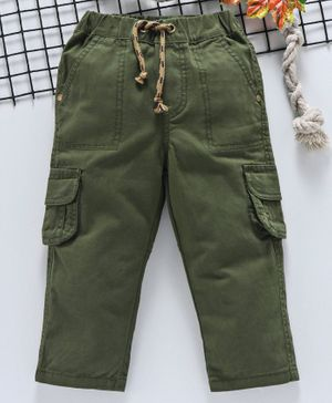 Babyhug Full Length Elasticated Waist Pant With Drawstrings - Olive