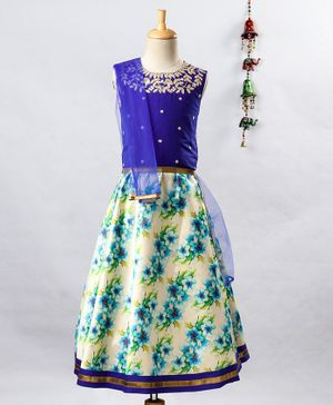 Twisha Golden Leaves Embroidered Sleeveless Choli With Floral print Lehenga & Net Dupatta - Blue