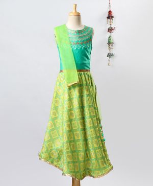 Twisha Embroidered Sleeveless Choli With Lehenga & Dupatta - Green