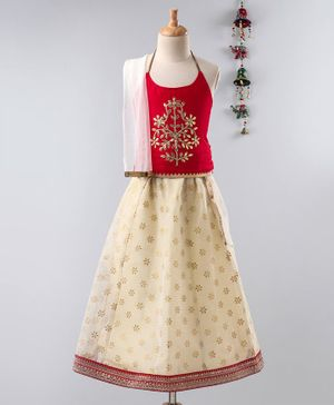 Twisha Golden Floral Embroidered Sleeveless Choli With Lehenga & Net Dupatta - Red