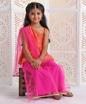 Twisha Elephant Self Design Sleeveless Peplum Choli With Lehenga & Dupatta - Orange & Pink