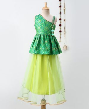 Twisha Sleeveless Brocade Asymmetrical Neck Top With Tulle Flare Lehenga - Green
