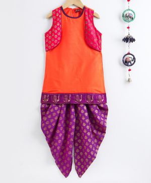 Twisha Sleeveless Jacket Attached Kurti With Motif Print Dhoti - Orange & Purple