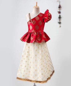 Twisha One Shoulder Sleeveless Motif Print Top With Lehenga - Red & Off White