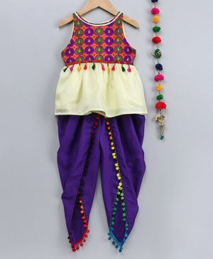 Many Frocks & Flower Print Sleeveless Top With Pom Pom Detailed Dhoti - Multi Colour