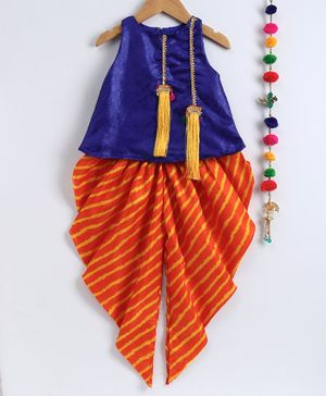 Many Frocks & Sleeveless Top With Leheriya Print Elasticated Dhoti - Orange & Dark Blue