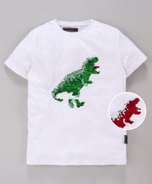 MAGIC TEES Half Sleeves Reverse Sequinned Dinosaur Patch Tee - Green