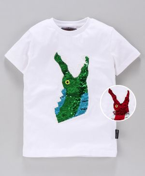 MAGIC TEES Half Sleeves Reverse Sequinned Crocodile Patch Tee - Green